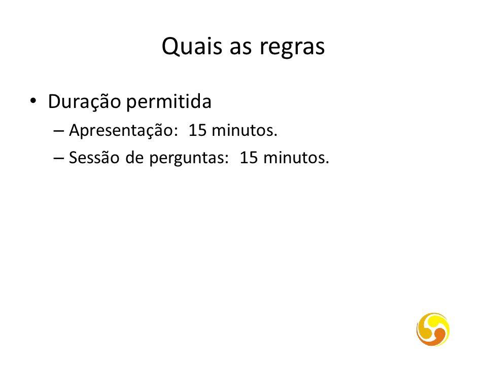Quais as regras Duração permitida Apresentação: 15 minutos.