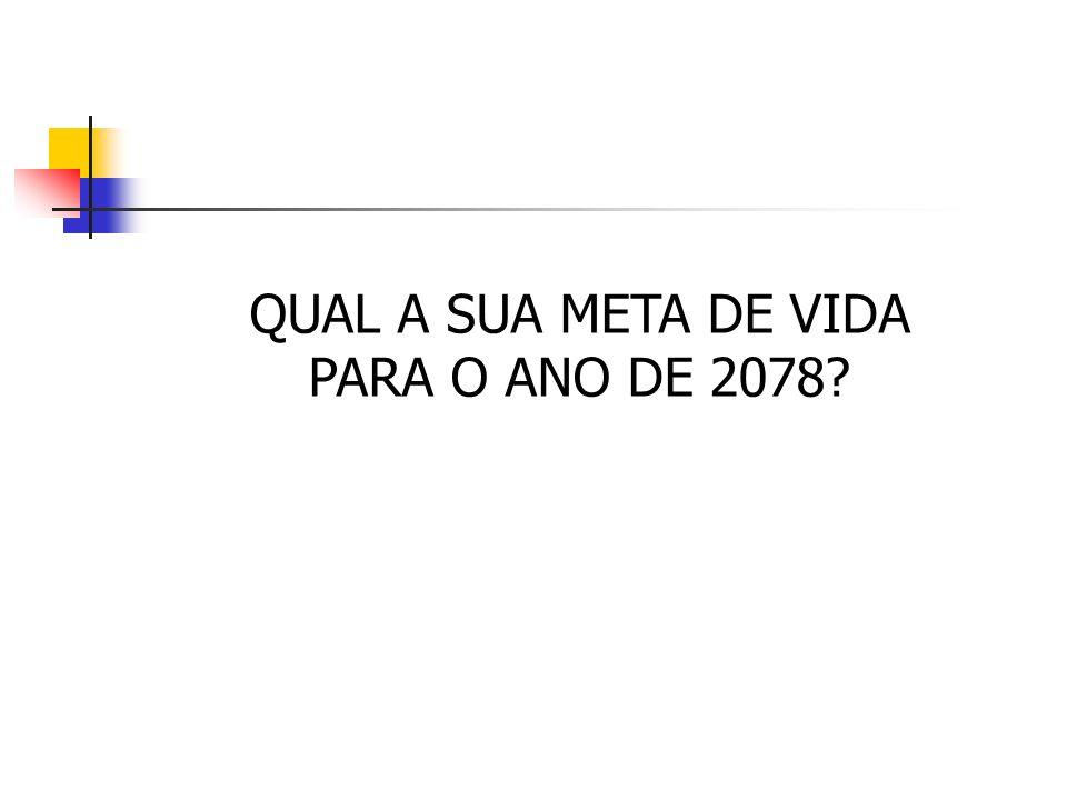 QUAL A SUA META DE VIDA PARA O ANO DE 2078