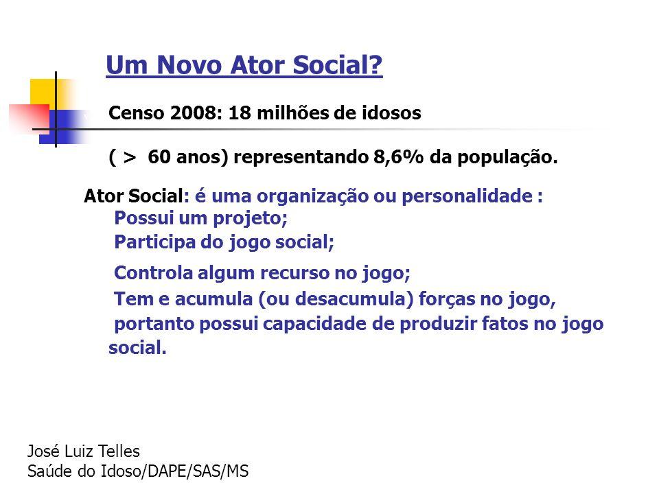 Um Novo Ator Social Censo 2008: 18 milhões de idosos