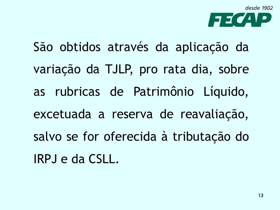 São obtidos através da aplicação da variação da TJLP, pro rata dia, sobre as rubricas de Patrimônio Líquido, excetuada a reserva de reavaliação, salvo se for oferecida à tributação do IRPJ e da CSLL.
