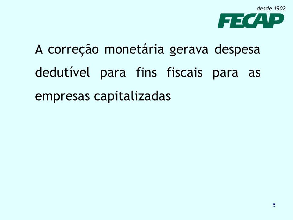 A correção monetária gerava despesa dedutível para fins fiscais para as empresas capitalizadas