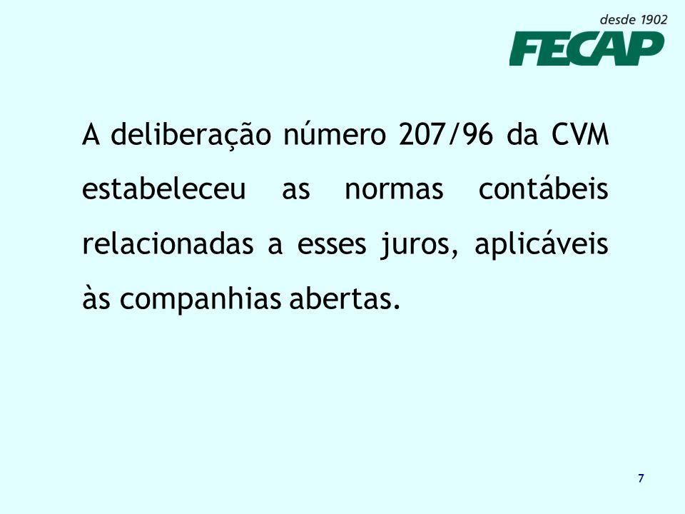 A deliberação número 207/96 da CVM estabeleceu as normas contábeis relacionadas a esses juros, aplicáveis às companhias abertas.