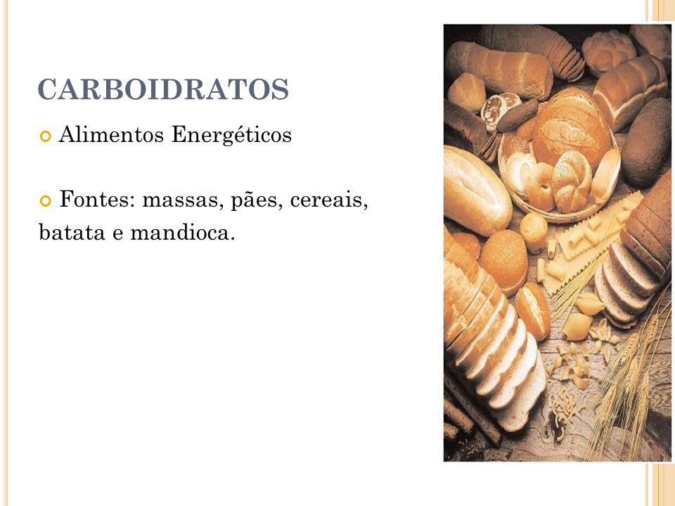 CARBOIDRATOS Alimentos Energéticos Fontes: massas, pães, cereais,