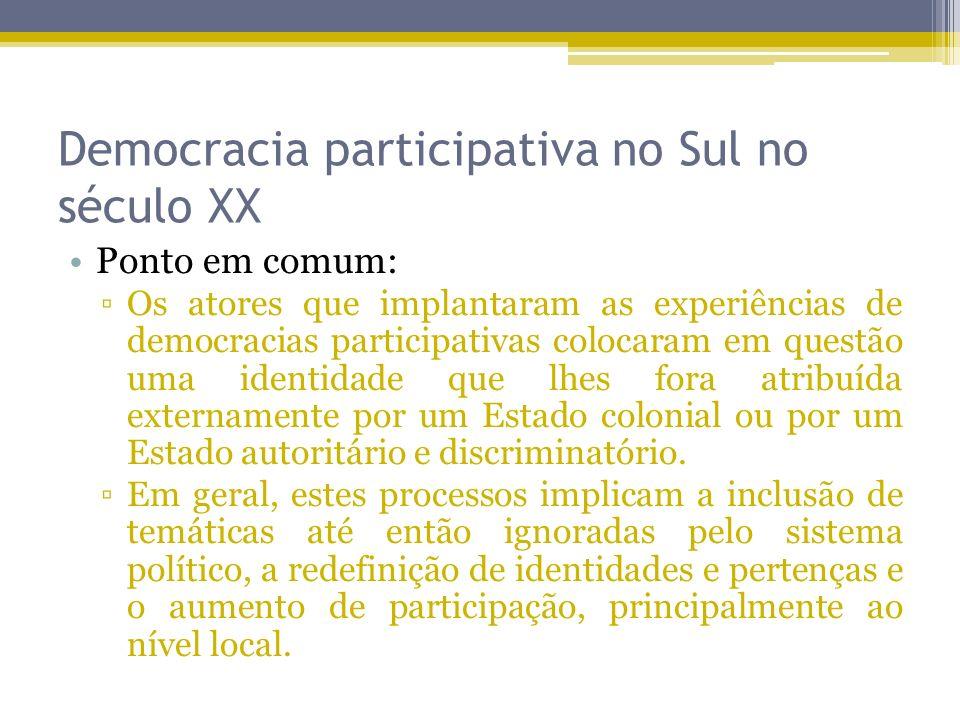 Democracia participativa no Sul no século XX