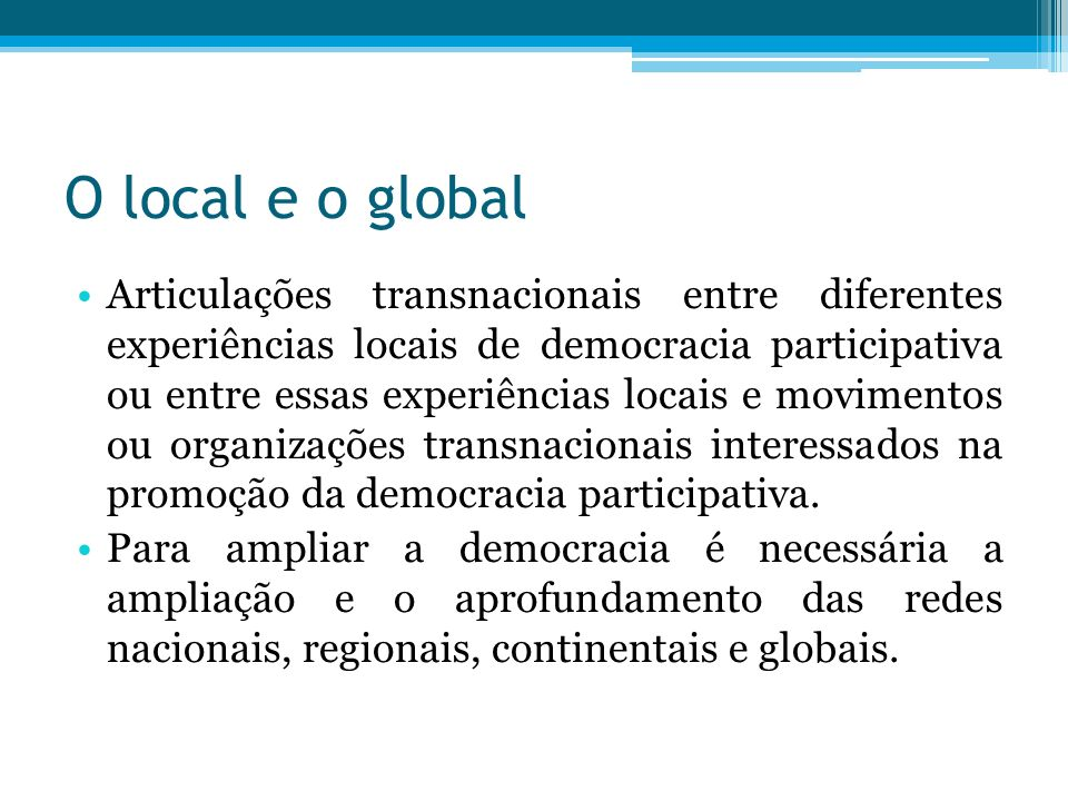 O local e o global