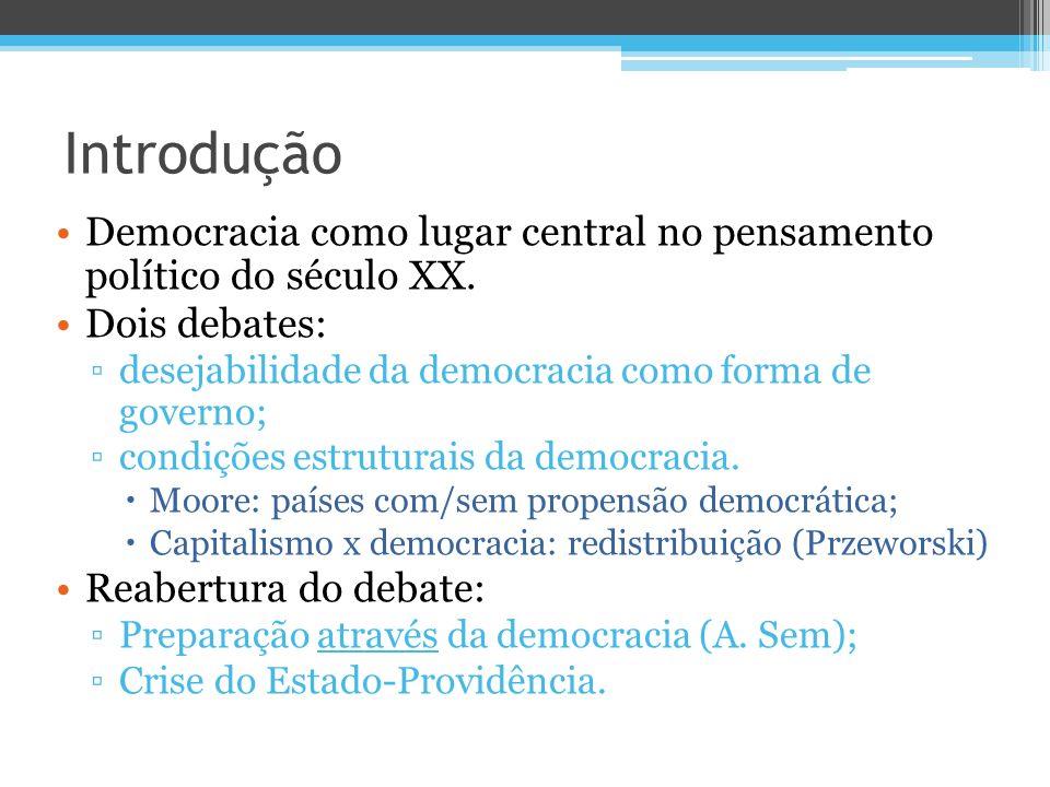 Introdução Democracia como lugar central no pensamento político do século XX. Dois debates: desejabilidade da democracia como forma de governo;