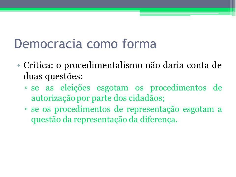 Democracia como forma Crítica: o procedimentalismo não daria conta de duas questões: