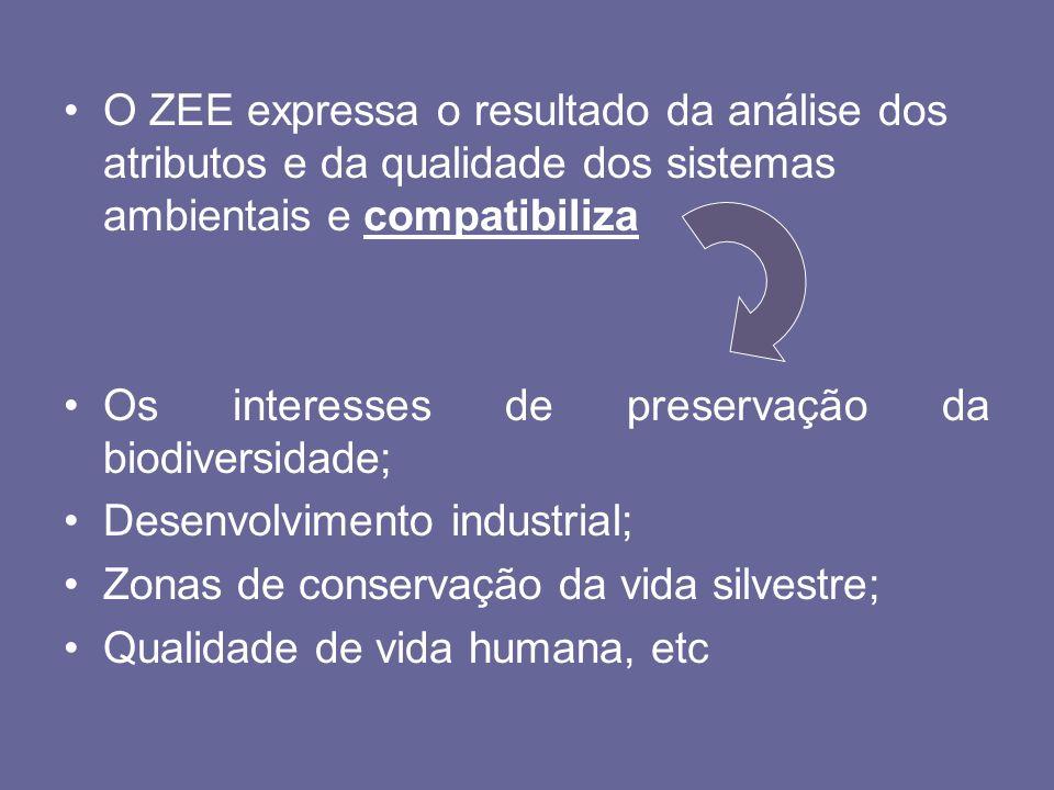 O ZEE expressa o resultado da análise dos atributos e da qualidade dos sistemas ambientais e compatibiliza