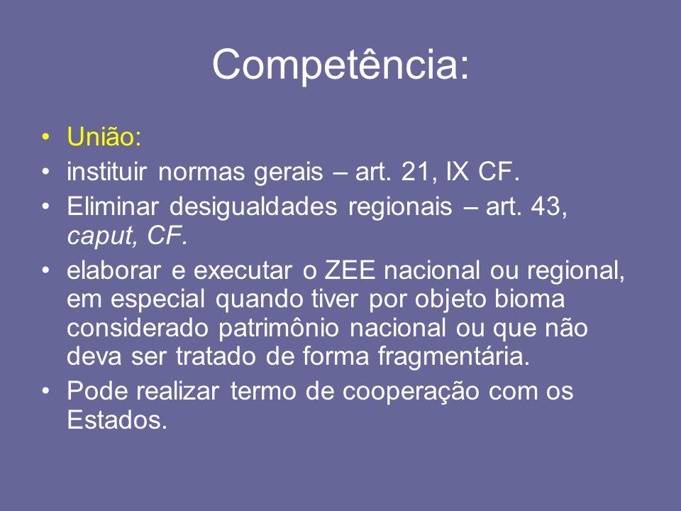 Competência: União: instituir normas gerais – art. 21, IX CF.