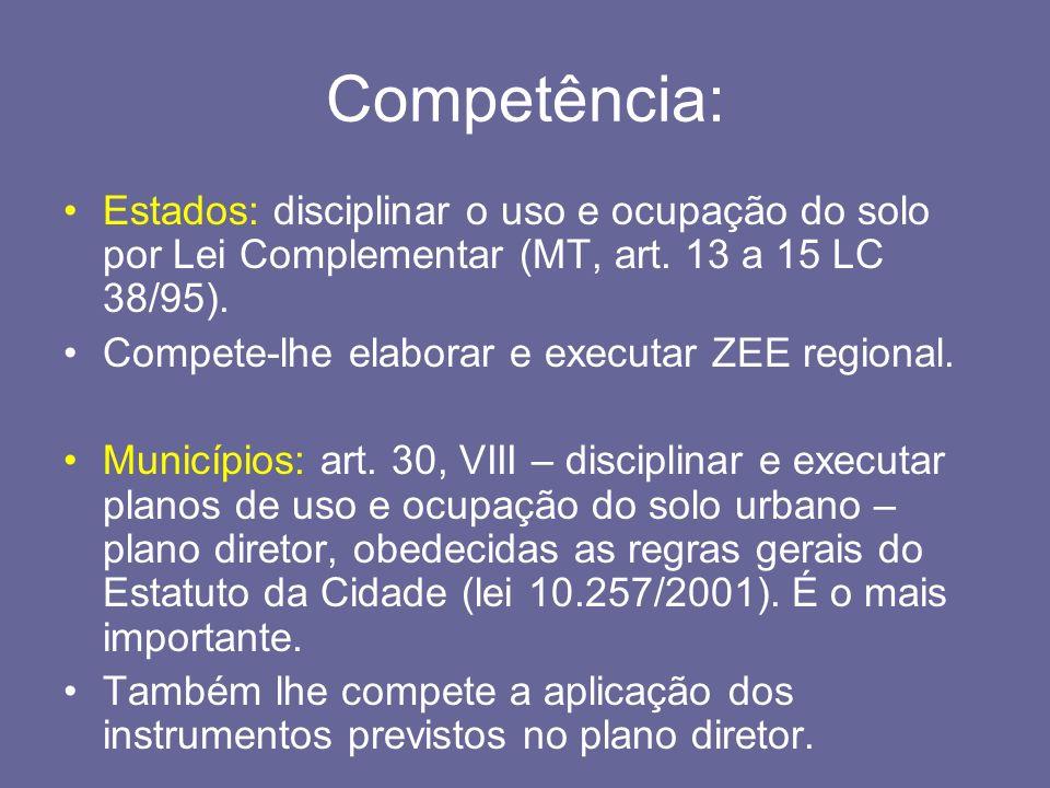 Competência:Estados: disciplinar o uso e ocupação do solo por Lei Complementar (MT, art. 13 a 15 LC 38/95).