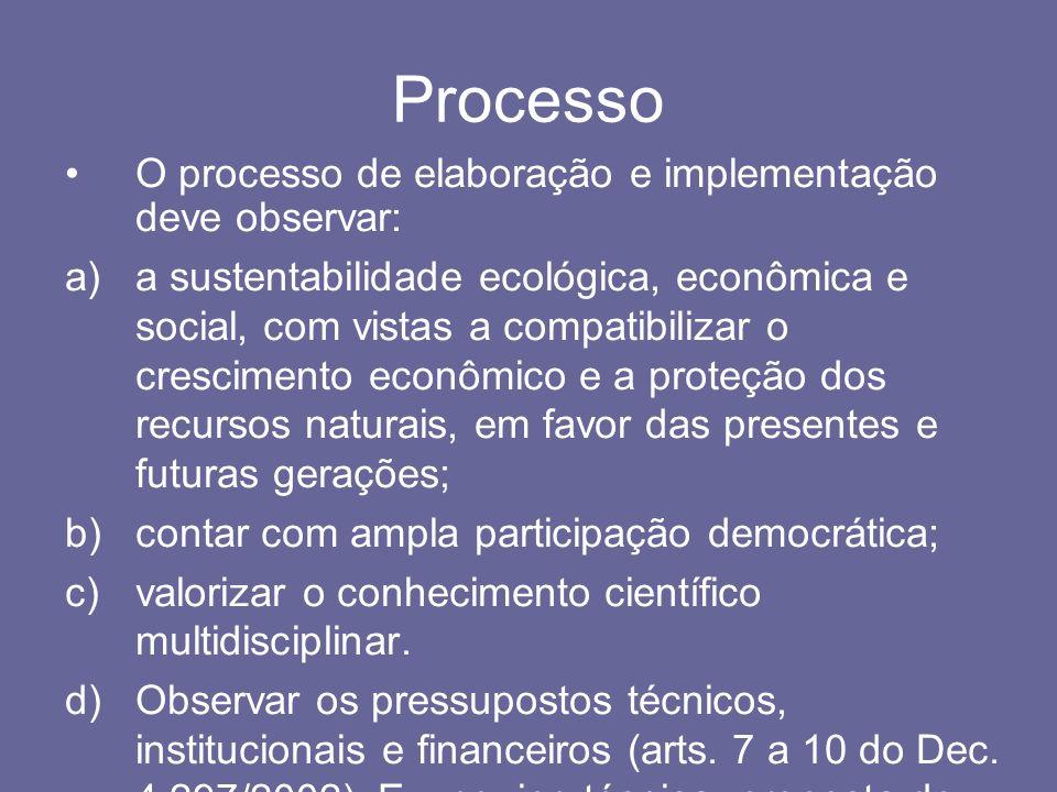 Processo O processo de elaboração e implementação deve observar: