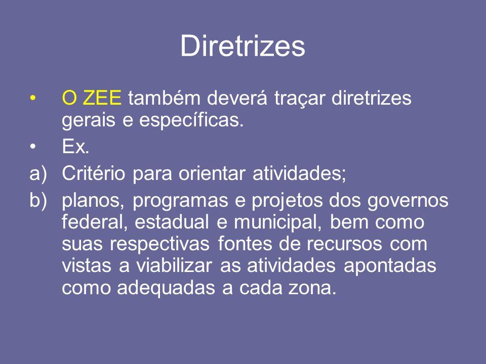 Diretrizes O ZEE também deverá traçar diretrizes gerais e específicas.