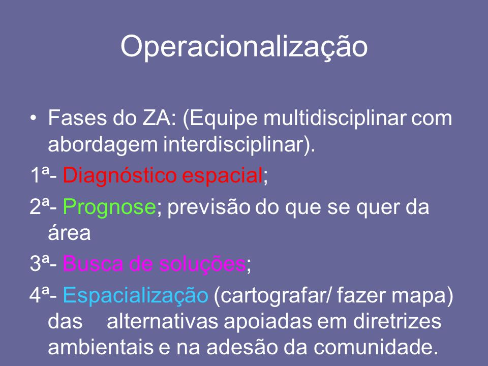 OperacionalizaçãoFases do ZA: (Equipe multidisciplinar com abordagem interdisciplinar). 1ª- Diagnóstico espacial;