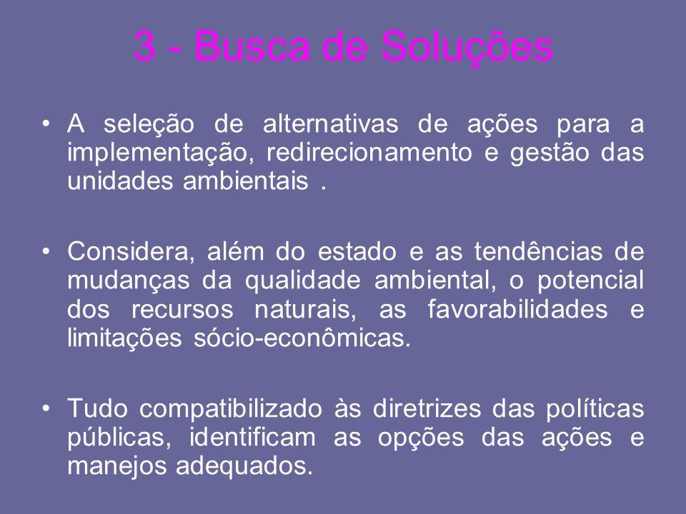 3 - Busca de SoluçõesA seleção de alternativas de ações para a implementação, redirecionamento e gestão das unidades ambientais .