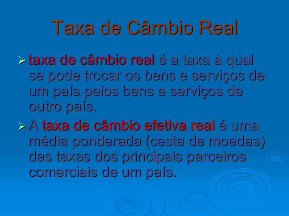 Taxa de Câmbio Real taxa de câmbio real é a taxa à qual se pode trocar os bens e serviços de um país pelos bens e serviços de outro país.