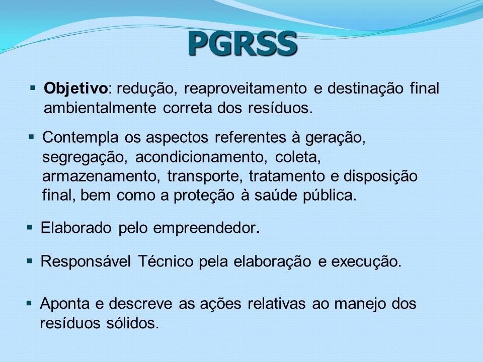 PGRSS Objetivo: redução, reaproveitamento e destinação final ambientalmente correta dos resíduos.