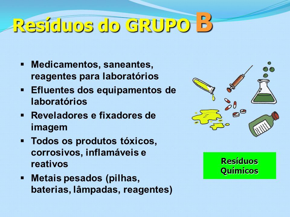 Resíduos do GRUPO B Medicamentos, saneantes, reagentes para laboratórios. Efluentes dos equipamentos de laboratórios.