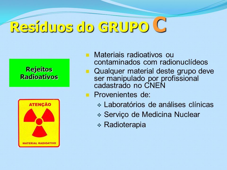 Resíduos do GRUPO C Materiais radioativos ou contaminados com radionuclídeos.