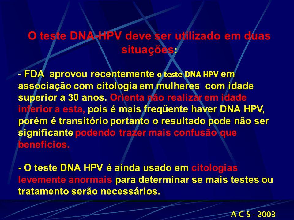 O teste DNA-HPV deve ser utilizado em duas situações: