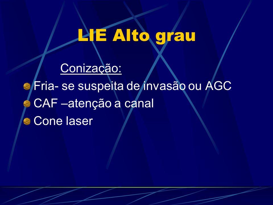 LIE Alto grau Conização: Fria- se suspeita de invasão ou AGC