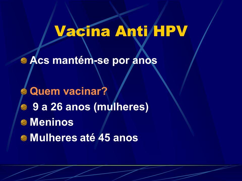 Vacina Anti HPV Acs mantém-se por anos Quem vacinar