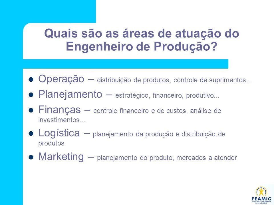 Quais são as áreas de atuação do Engenheiro de Produção