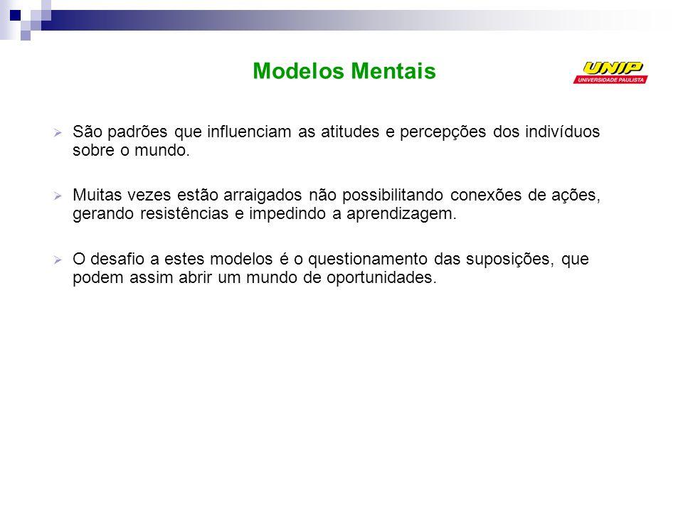 Modelos Mentais São padrões que influenciam as atitudes e percepções dos indivíduos sobre o mundo.