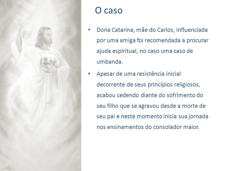 O caso Dona Catarina, mãe do Carlos, influenciada por uma amiga foi recomendada a procurar ajuda espiritual, no caso uma caso de umbanda.