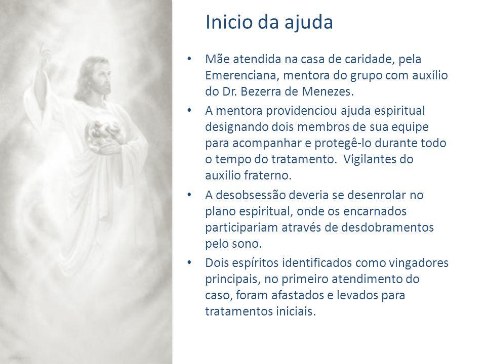 Inicio da ajuda Mãe atendida na casa de caridade, pela Emerenciana, mentora do grupo com auxílio do Dr. Bezerra de Menezes.