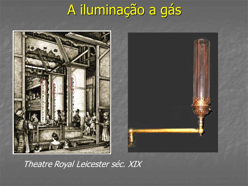 A iluminação a gás Theatre Royal Leicester séc. XIX