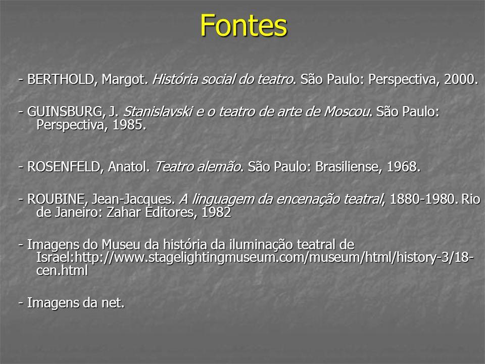 Fontes - BERTHOLD, Margot. História social do teatro. São Paulo: Perspectiva, 2000.
