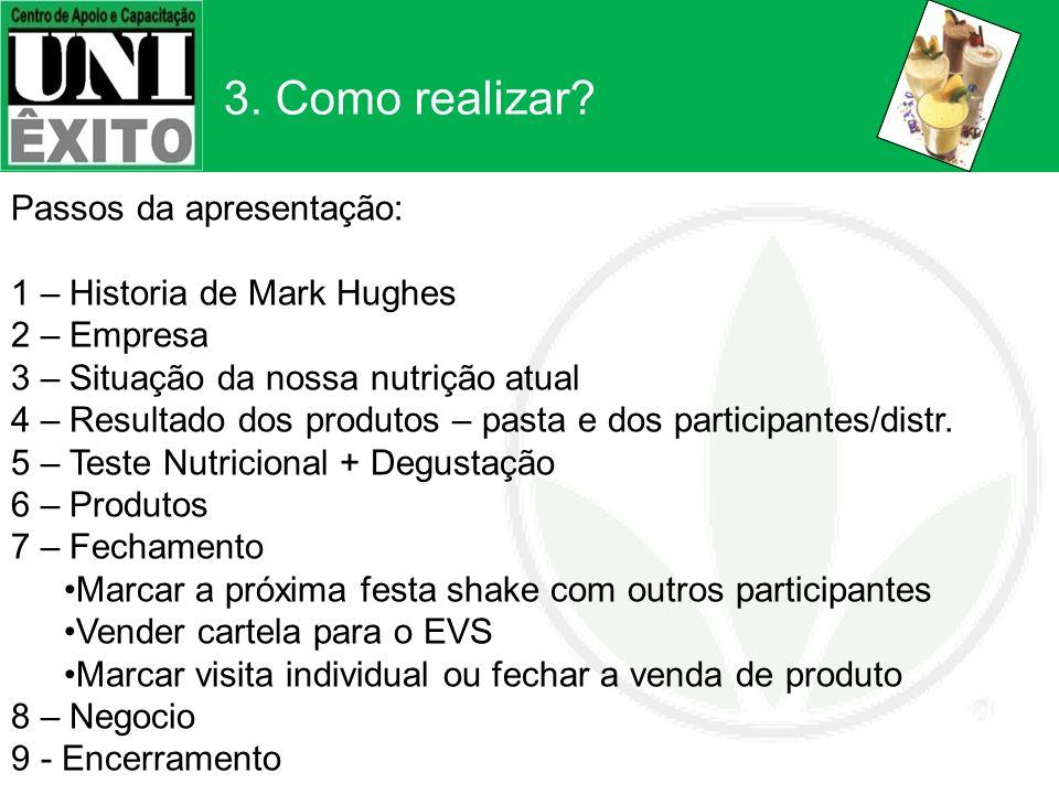 3. Como realizar Passos da apresentação: 1 – Historia de Mark Hughes