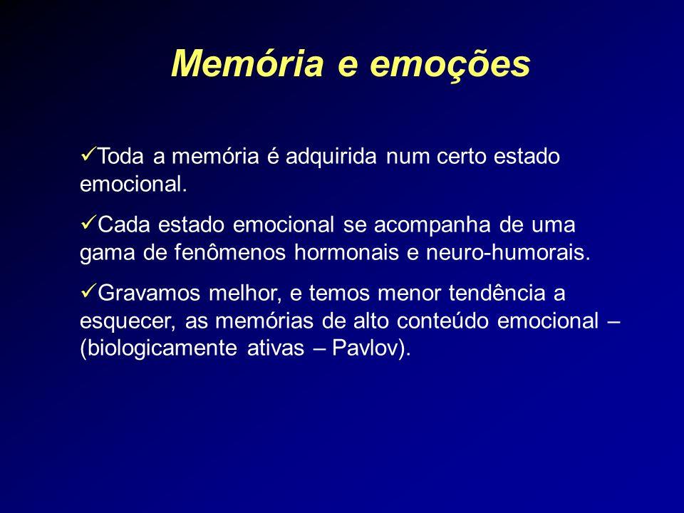 Memória e emoções Toda a memória é adquirida num certo estado emocional.