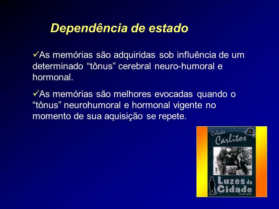 Dependência de estado As memórias são adquiridas sob influência de um determinado tônus cerebral neuro-humoral e hormonal.
