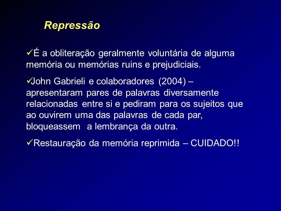 RepressãoÉ a obliteração geralmente voluntária de alguma memória ou memórias ruins e prejudiciais.