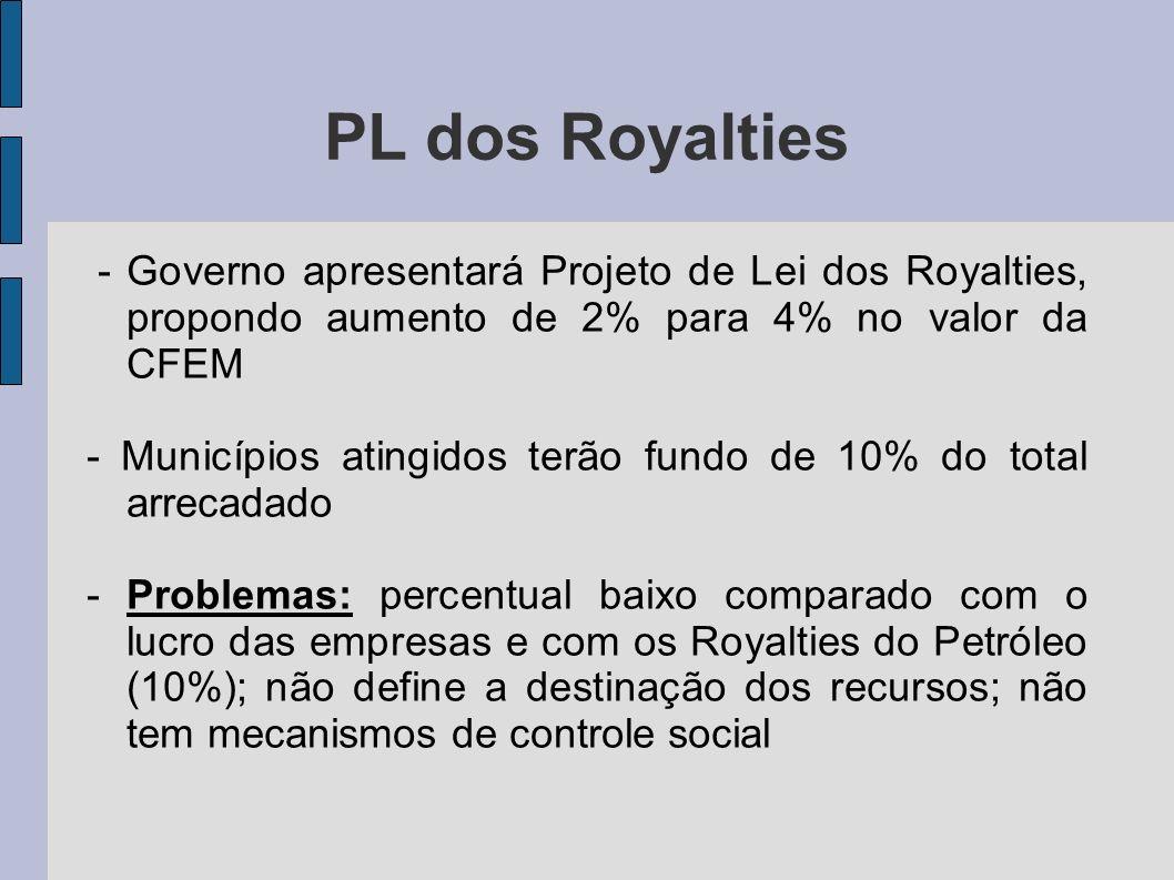 PL dos Royalties - Governo apresentará Projeto de Lei dos Royalties, propondo aumento de 2% para 4% no valor da CFEM.