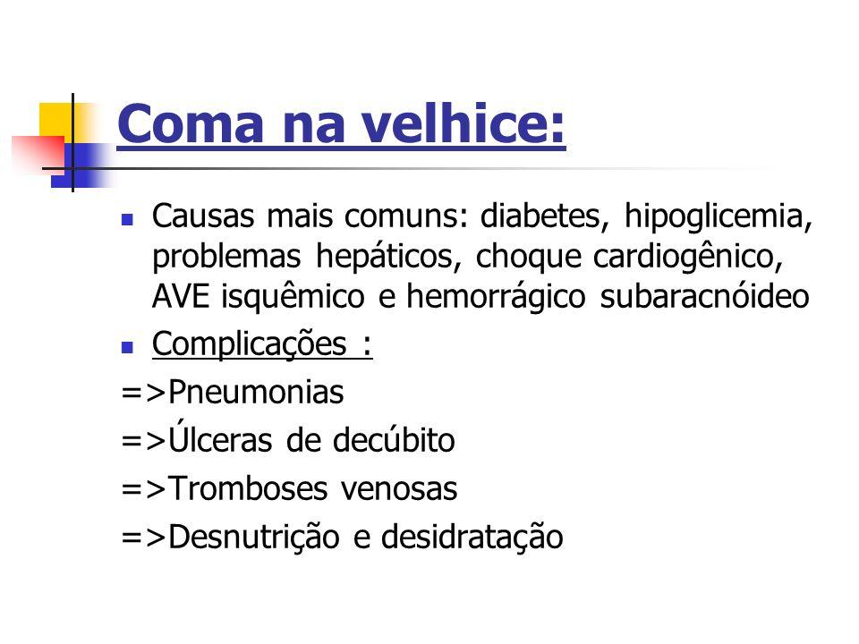 Coma na velhice: Causas mais comuns: diabetes, hipoglicemia, problemas hepáticos, choque cardiogênico, AVE isquêmico e hemorrágico subaracnóideo.