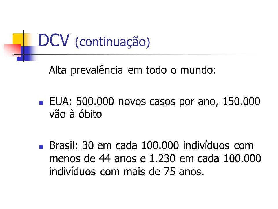 DCV (continuação) Alta prevalência em todo o mundo: