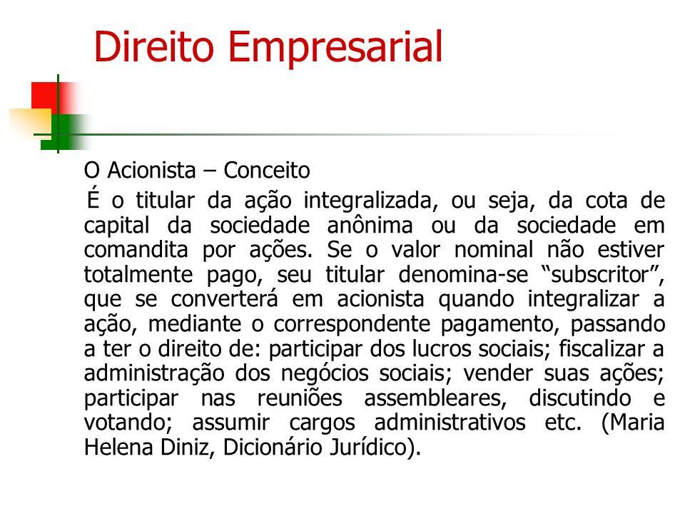Direito Empresarial O Acionista – Conceito.