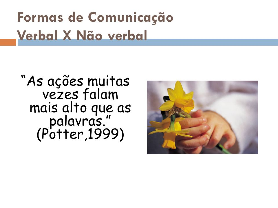Formas de Comunicação Verbal X Não verbal