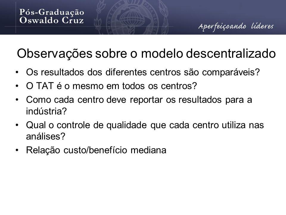 Observações sobre o modelo descentralizado