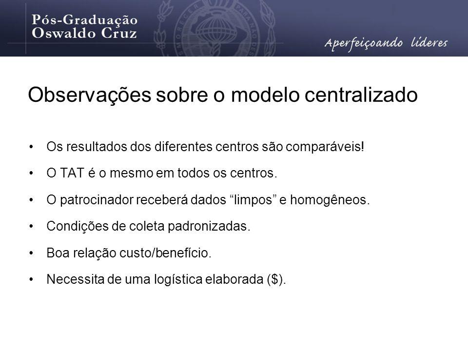 Observações sobre o modelo centralizado