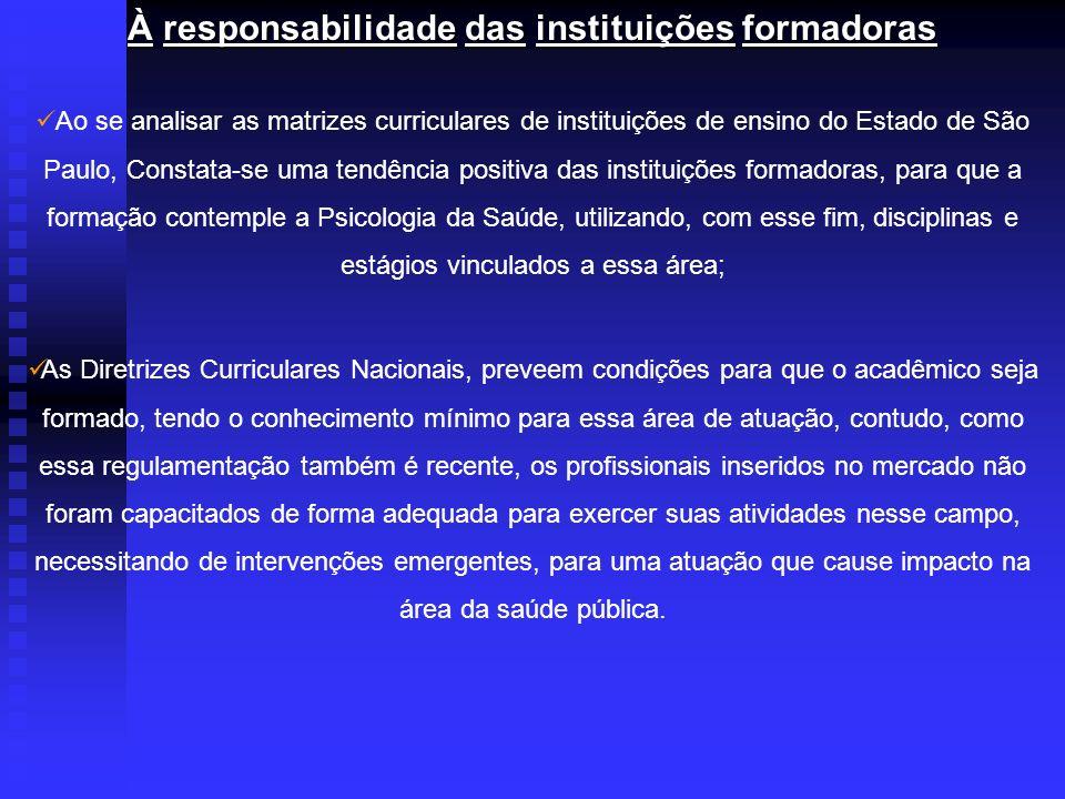 À responsabilidade das instituições formadoras