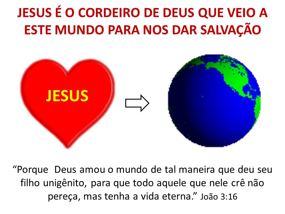 JESUS É O CORDEIRO DE DEUS QUE VEIO A ESTE MUNDO PARA NOS DAR SALVAÇÃO