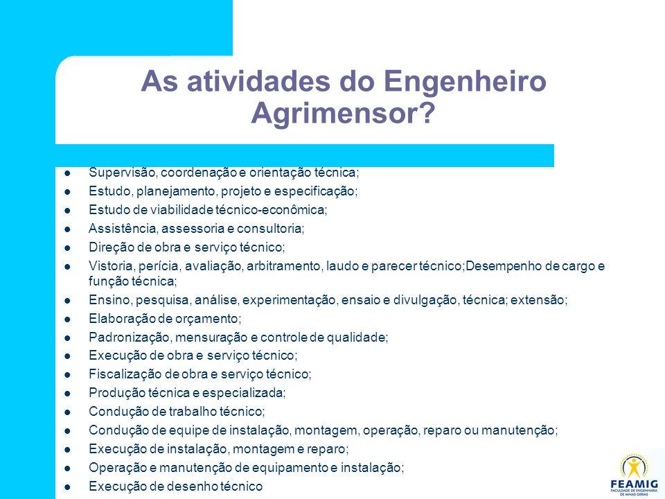 As atividades do Engenheiro Agrimensor