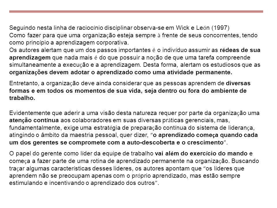 Seguindo nesta linha de raciocínio disciplinar observa-se em Wick e León (1997)