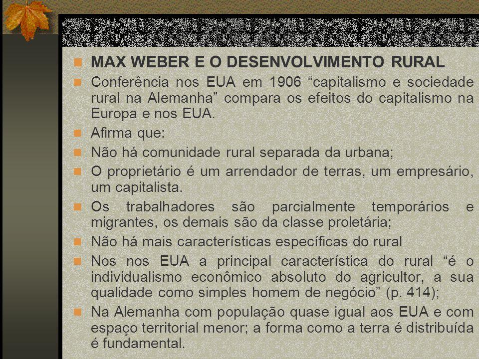 MAX WEBER E O DESENVOLVIMENTO RURAL