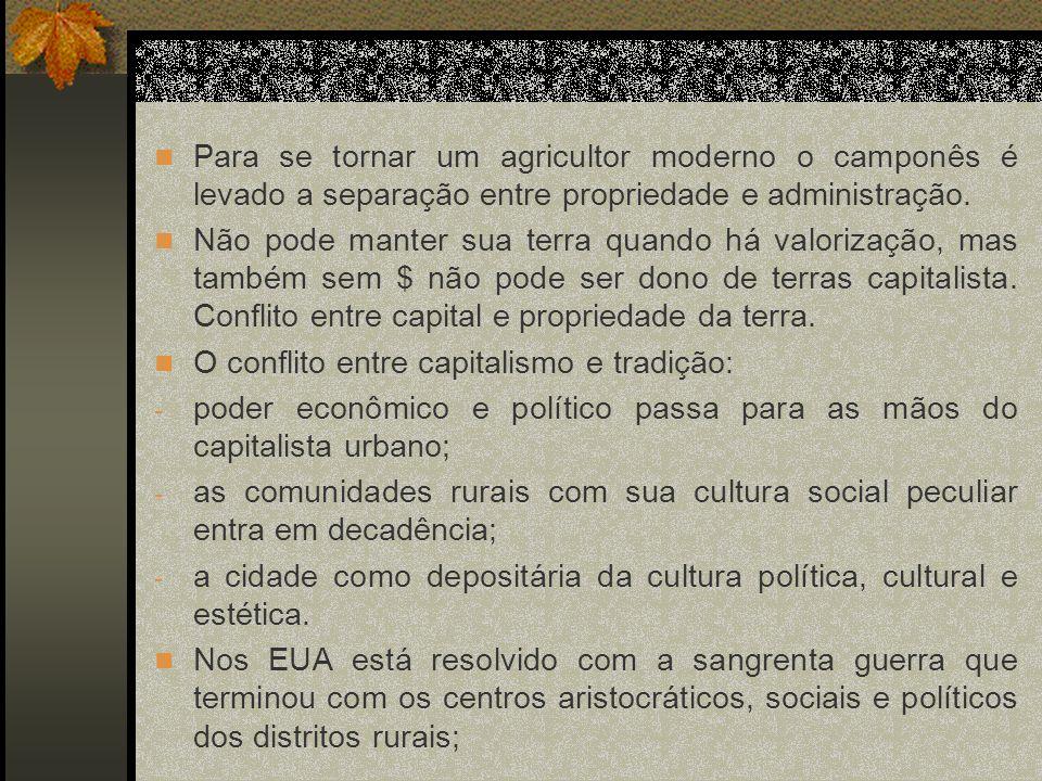 Para se tornar um agricultor moderno o camponês é levado a separação entre propriedade e administração.