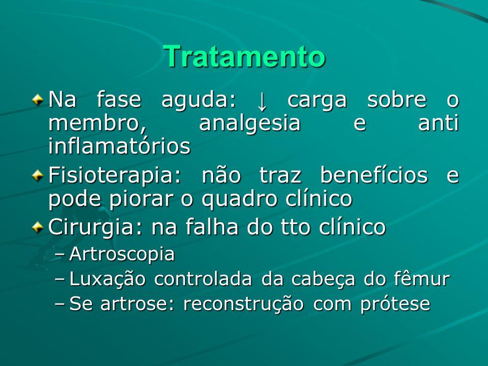 Tratamento Na fase aguda: ↓ carga sobre o membro, analgesia e anti inflamatórios. Fisioterapia: não traz benefícios e pode piorar o quadro clínico.