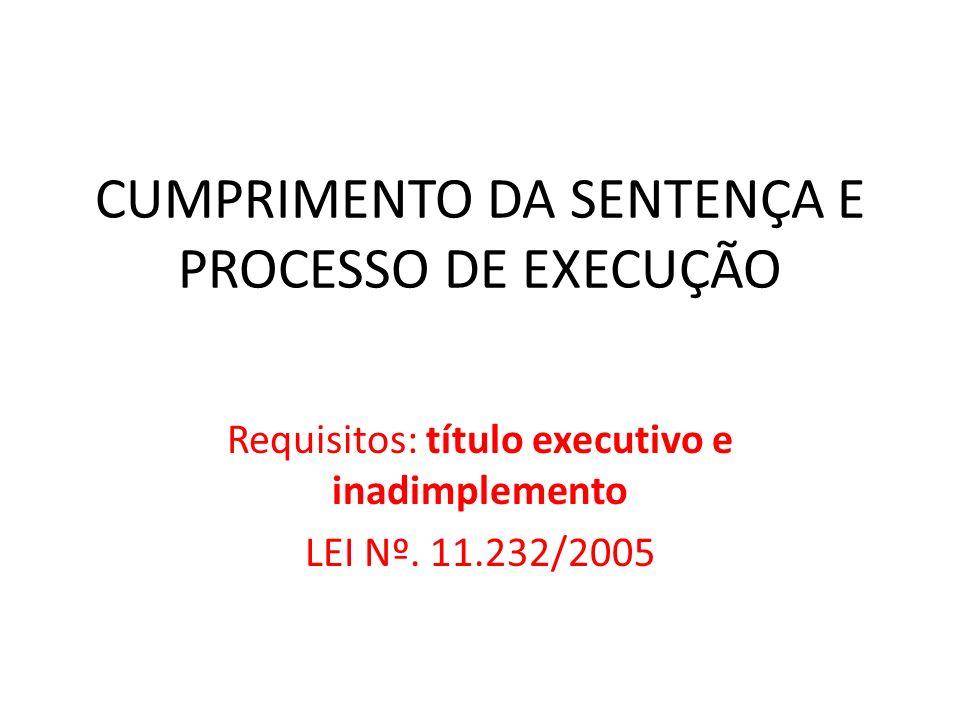 CUMPRIMENTO DA SENTENÇA E PROCESSO DE EXECUÇÃO